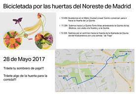Bicicletada por las huertas del Noreste de Madrid. 28 de mayo 2017
