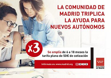 Comunidad de Madrid - Ayuda para nuevos autónomos